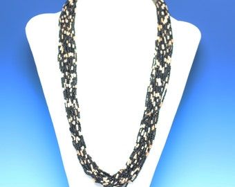 Boho Multi Strand Necklace Black Seed Beads Vintage