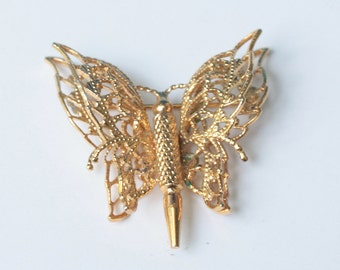 Monet Butterfly Pin Gold Tone Filigree Vintage