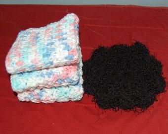 Crochet dishcloths/washcloths set of three with bonus scrubber