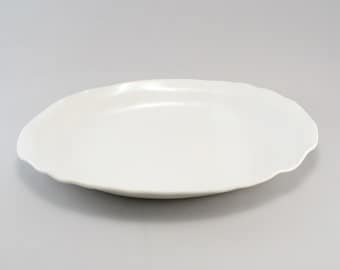 Pottery Serving Platter-Oval Platter-White-Slab Built-Tableware-Classic White Glaze-Ready to Ship