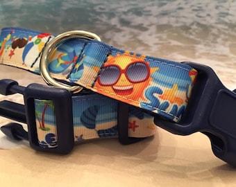 Summer Fun Beach Scenes Dog Collar, In M, L, XL  - Metal Buckle Option