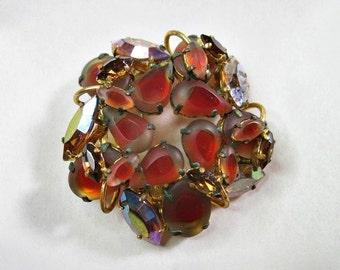 Vintage Rhinestone Brooch - Orange - Amber - Earthtones - 1960s Jewelry - Mid Century Jewelry - Round
