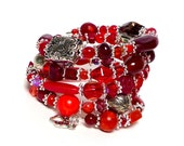 CRIMSON coil Beaded Bracelet by Beading Divas Fundraiser
