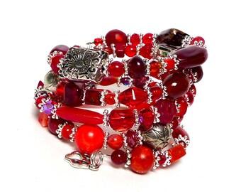 CRIMSON coil Beaded Bracelet by Beading Divas Fundraiser