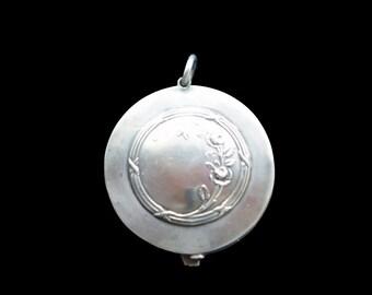 Slider Pendant French Rose 800 Silver Mirror Locket