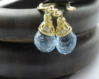 Blue Topaz Earrings, Vermeil Gold Blue Topaz Dangle Drop Earrings,Bridal Jewelry, Small Blue Topaz Briolette Earrings, NOVEMBER BIRTHSTONE