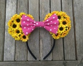 Sunflower Minnie Ears With Pink Polka Dot Bow
