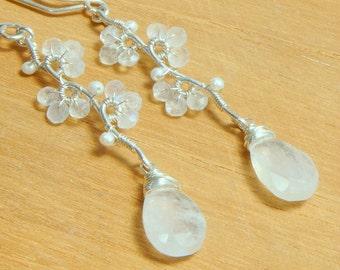 Rainbow Moonstone Teardrop Earrings, June Birthstone Earrings, White Flower Earrings, Sterling Silver