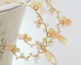 Sunstone and Citirine Gold Earrings, Gold Large Hoop, Orange Yellow Gemstones Jewelry, Summer Jewelry