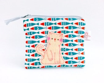 Cat Fish Coin Purse, Cat Fish Pouch, Cat Wallet, Cat Zipper Pouch, Zipper Coin Purse, Cute Cat Purse, Cute Gift - Cat Lover Gift