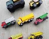 7 piece vintage metal and plastic trucks - NO367
