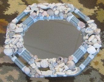 real seashell mirror upcycled grey wicker look beach coastal hand crafted