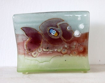 Glass Napkin holder, purple  fish Fused glass art .