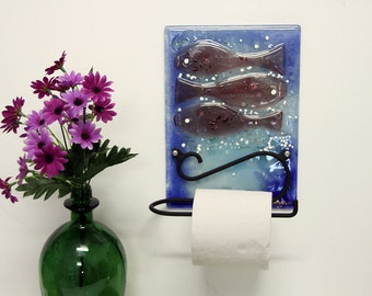 Fused glass toilet paper holder , Under the Sea fish .