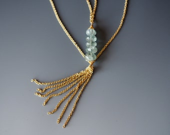 Moss Aquamarine and Vermeil 22 Karat Gold over Sterling Layering Necklace