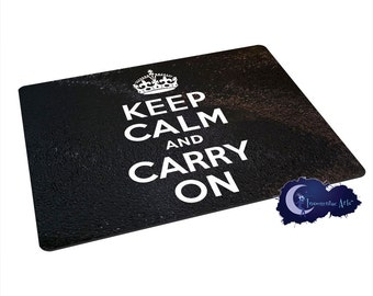 Keep Calm and Carry On, Black - Tempered Glass Bar & Kitchen Cutting Board