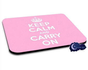 Keep Calm and Carry On - Pink -British Mousepad