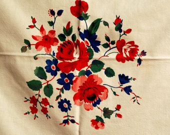Vintage Roses Square Tablecloth from 1950's Red and White Christmas Rose