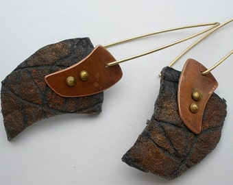 Black Hand Cast Paper Earrings with Copper Accents and Gold Filled Wire Hooks