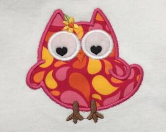 Onesie, baby bodysuit, owl, hot pink, appliqué