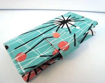 Fabric Checkbook Cover, Holder -  Atomic Turquoise