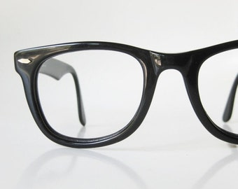 POP SALE 1980s Black Horn Glasses Mens Guys Optical Frames Mid Century Modern Mad Men Homme Guys Oversized Classic 80s Obsidian Midnight Eig