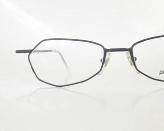 Vintage Angular Reading Glasses 1980s Black Matte Readers Women Ladies 80s Eighties Midnight Retro Deadstock New Wave Wire Rim