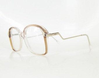 ON SALE Vintage Yves Saint Laurent 1970s Eyeglasses Womens Avant Garde Fashion Golden France French 70s Oversized Indie Hipster Chic Deadsto