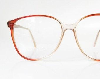 SALE Vintage Round Glasses Womens Eyeglasses 1980s Apricot Orange Circular P3 Hipster Eyeglass Frames Optical 80s Oversized Brown Indie Clas