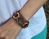 Monogram Bracelet Leather Cuff Engraved