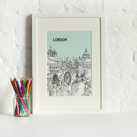 Personalised London Print Custom Wedding Gift Unique Anniversary ...