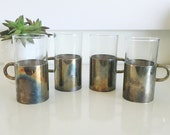 Vintage Set of Four Mid Century Glasses with Metal Handled Cozies Covers