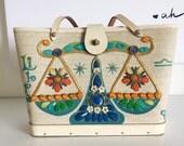 Vintage Enid Collins Libra Jeweled Bucket Tote with Wood Base
