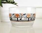 Vintage Halloween Libbey Glass Small Bowl. Cats, Fence, Moon, and Trees