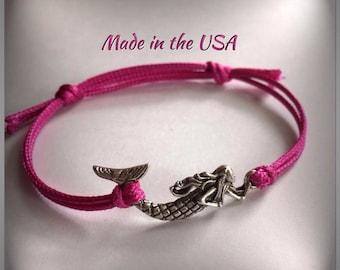 Mermaid charm bracelet. Mermaid slide bracelet. Gift For Her. Colorful bracelet. Silver mermaid charm. Custom bracelet. Birthday gift.