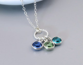 Birthstone Necklace, Mother's necklace, gift for mom, grandma, choose your birthstones, sterling silver