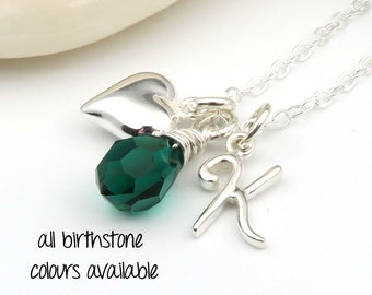 Birthstone, Initial and Heart Necklace, sterling silver initial necklace,  birthstone briolette charm, custom birthstone december