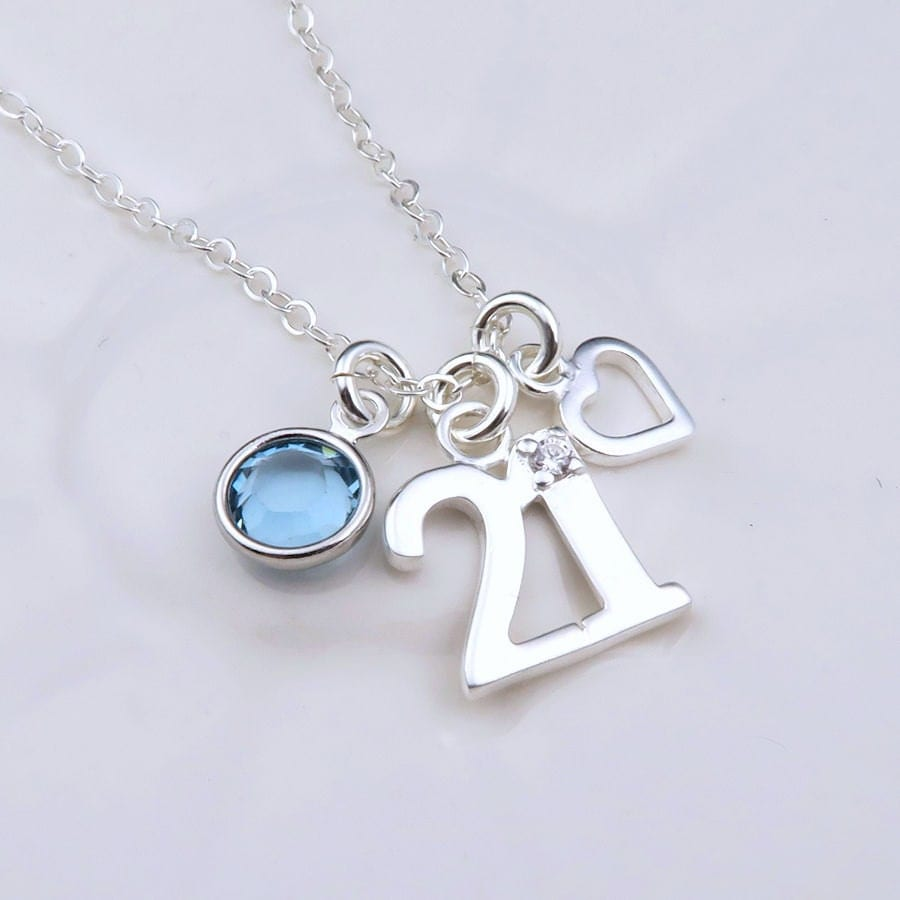 Silver 21st Birthday Necklace With Heart Sterling Silver