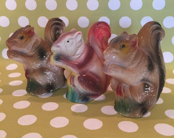 Squirrels- Three Vintage Chalk