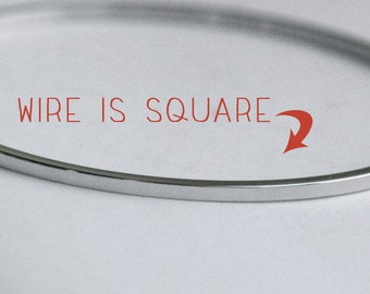 STAINLESS STEEL square wire bangle bracelet Flat 2mm wide, 2mm thick Tarnish resistant, no plating to wear off. Plain silver skinny stacking