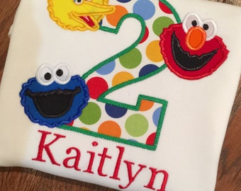 Sesame Street Birthday, Girls Elmo shirt, Sesame Street Outfit