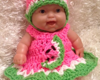 Clothes For 8 Inch Dolls.  Watermelon Dress Set