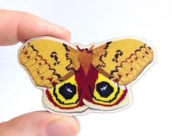 Automeris Io Moth – Wooden Brooch Pin Badge