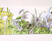Spring Garden Flowers Watercolor Bees and Butterfly Original Botanical Art