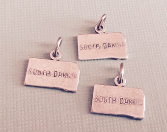 South Dakota State Charm Pendant with Loop, Antique Silver, Great for Charm Bracelets, Necklaces, Earrings