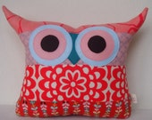 Thanks giving sale/Christmas Sale / Patchwork/ Aqua/red/coral/ /Owl pillow/Ready to ship