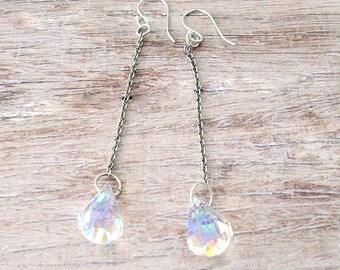 Sterling Swarovski Crystal Drop Earrings - Sterling Silver Earrings - Sterling Bridal Earrings - Silver Crystal Drop Earrings - Bridesmaid