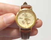 Vintage Mickey Mouse Wrist Watch - Brown Leather, Gold Tone