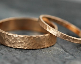 18k Gold Wedding Bands with Hammered Finish- Custom Made
