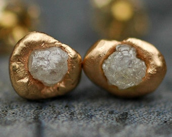 Ready to Ship:  Raw Diamonds in Reticulated 14k White Gold Post Earrings- Limited Edition